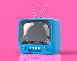 3d Isolated Blue Small TV Television. Retro Vintage Concept.