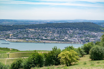 Landscape of the Rhine valley with vineyards, river, towns and hills - view from the Niederwald monument / memorial on a summer sunny day