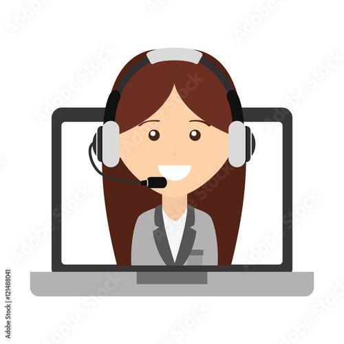"""call Center Operator Avatar Vector Illustration Design"