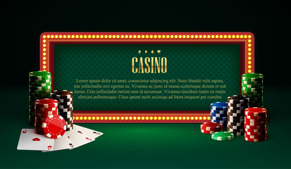 casino chips lamp vintage banner and cards