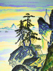 Hand drawn picture, in traditions of old Chinese art
