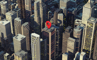 3D map pin on rooftop. Navigation Check-in Location Concept.