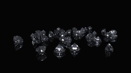 Diamonds background on black studio.