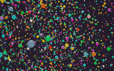 Universe of colors. Abstract colorful balls illustration with nice depth of field. 3D Render