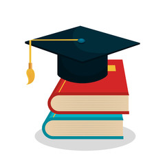 cartoon books and cap graduation school graphic vector illustration eps 10