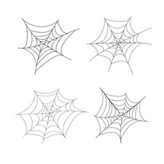 Set of 4 hand drawn spider web isolated on white background