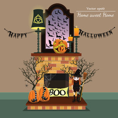 Vector fireplace. Home sweet home.Halloween style.