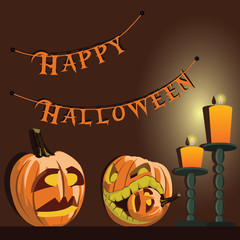 Vector background. Halloween pumpkins and candles.