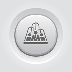 Security Agency Icon. Grey Button Design.