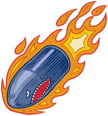 Vector Flaming Bullet or Artillery Shell Mascot with Shark Face
