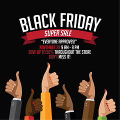 Black Friday super sale multicultural thumbs up design template.