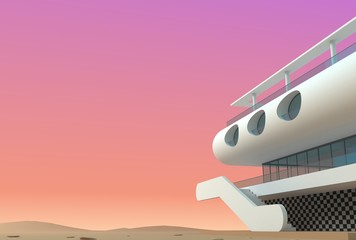 Futuristic modern white villa on Mars. 3d illustration