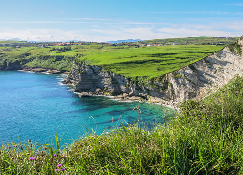 Scenic coastal view in Cantabria, northern Spain