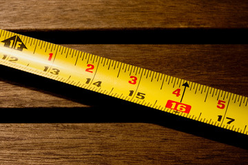 measuring tabe on wood
