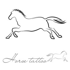 silhouette of a horse for tattoo or logo
