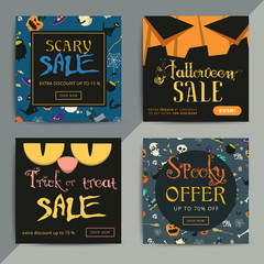 Set of creative social media sale web banners design for online