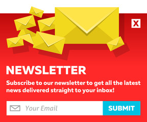 Red Email Newsletter Subscribe Form