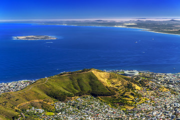 Republic of South Africa. Cape Town (Kaapstad). Panoramic ocean view of the city, Signal Hill and Robben Island