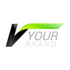 V letter black and green logo design Fast speed design template elements for application