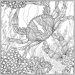 Pattern with decorative corals and sea or aquarium fish. Anti stress coloring book for adult. Outline drawing coloring page.