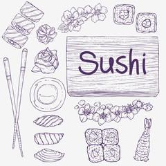 Sushi set. Rolls, ginger, wasabi, raw fish, salmon, tuna, chopsticks. Japanese food. Table layout. Doodle art.