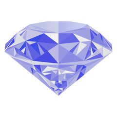 Realistic shining blue diamond jewel isolated on white background. Colorful gemstone that can be used as part of logo, icon, web decor or other design.