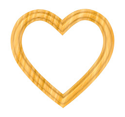 Wooden heart picture frame isolated on white. 3D illustration.