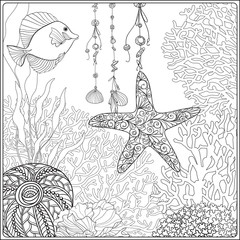 Coral reef collection. Anti stress coloring book for adult and. Outline drawing coloring page.