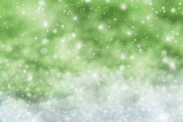 Green Christmas Background With Snow, Snwoflakes, Stars