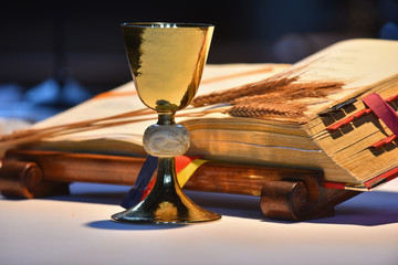 Elegant golden chalice with open prayer book in the background.