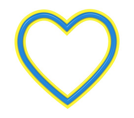 Yellow-blue plastic heart picture frame isolated on white. 3D illustration.