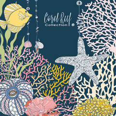 Coral reef collection. Underwater world. corals and fish.