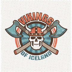 Logo with iceland viking skull in a horned helmet and crossed axes. Brutal warrior mascot sports team in old school retro style. Background, texture, sign and text on separate layers.