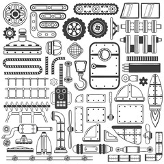 Compilation of machinery parts, parts of device or machines drawing in doodle style handmade.