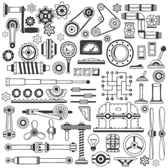 Set of industrial machine parts in doodle style. Suitable for construction machinery.