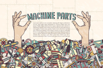 Poster Template - hand sticking out from a pile of machine parts hold inscription. Details in the clipping mask - can be removed and placed in another. Textures on separate layers.