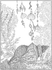 Coral reef collection.Anti stress coloring book for adult and. Outline drawing coloring page.