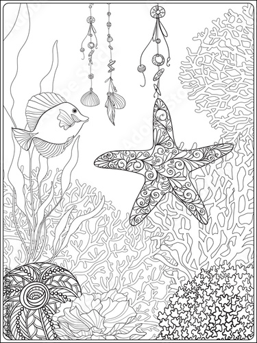 Coral Reef Collection.Anti Stress Coloring Book For Adult And. Outline  Drawing Coloring Page