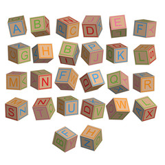 Toy blocks alphabet in 3D disordered, vector