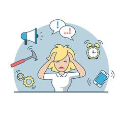 Linear Flat business woman deadline multitasking vector