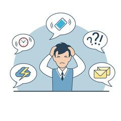 Linear Flat business man head phone deadline multitasking vector
