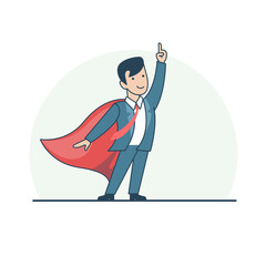 Linear Flat Superhero point suit red cape vector illustration.