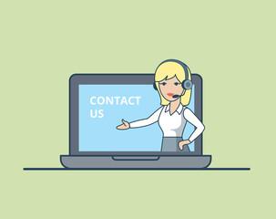 Linear Flat Online Information Woman headset call laptop vector