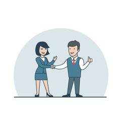 Linear Flat Businesspeople shaking hands agreement deal vector