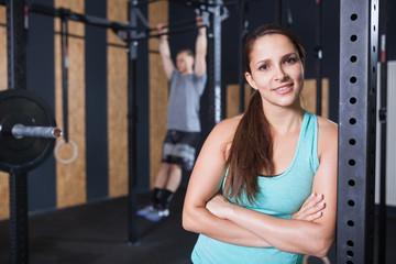 portrait of sportswoman at gym