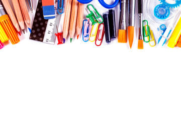 School and office supplies isolated on white background.