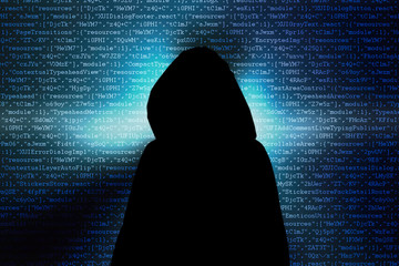 Silhouette of a hacker, Abstract blue light background