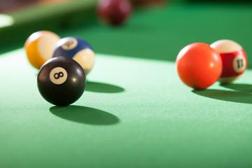 Snooker ball on billiard table