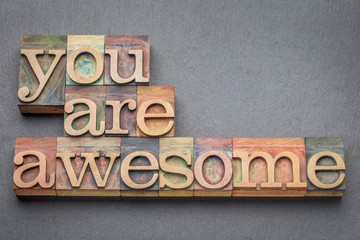 you are awesome in wood type Wall mural