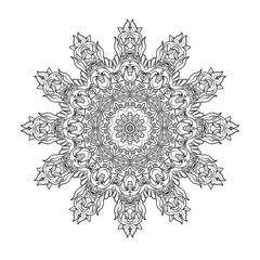 Vintage baroque mandala ornament. Anti stress coloring book for adult. Outline drawing coloring page.